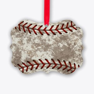 Baseball Vintage Distressed Picture Ornament
