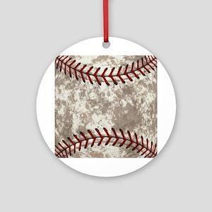 Baseball Vintage Distressed Round Ornament