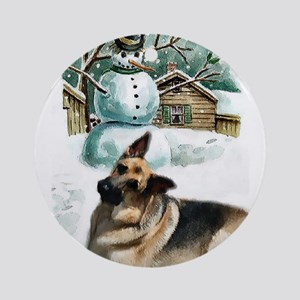 German Shepherd Christmas Round Ornament
