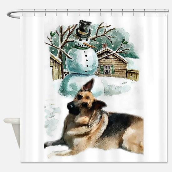 German Shepherd Christmas Shower Curtain