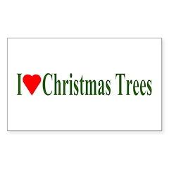 I Love Christmas Trees Rectangle Decal