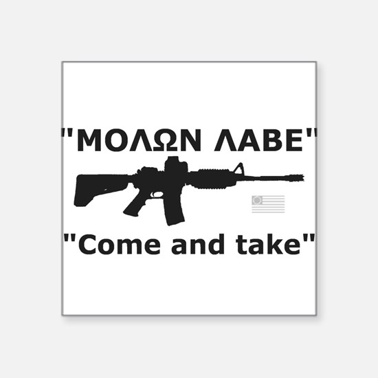 Come and Take Black AR-15 Rev Flag Square Sticker