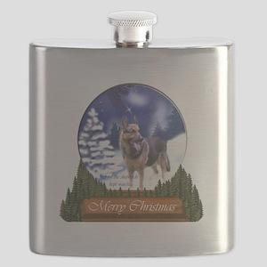 German Shepherd Christmas Flask