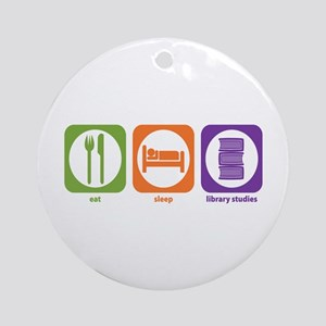 Eat Sleep Library Ornament (Round)