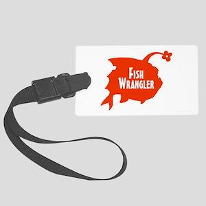Fish Wrangler - Hate Fish Logo Large Luggage Tag