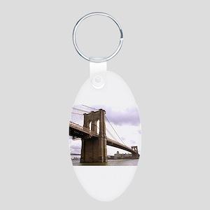 Brooklyn Bridge (Morning) Aluminum Oval Keychain