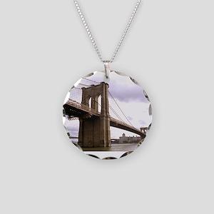Brooklyn Bridge (Morning) Necklace Circle Charm