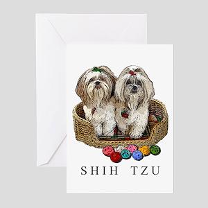 Shih Tzu Christmas Balls ZigNemo Greeting Cards (P