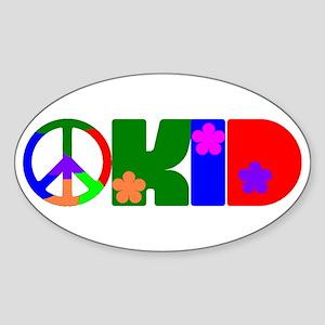 PEACE FLOWER KID Oval Sticker