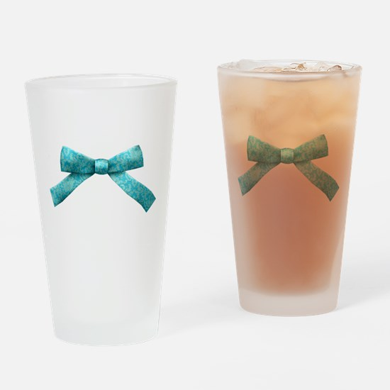 Teal Damask Bow Drinking Glass