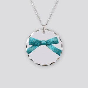 Teal Damask Bow Necklace Circle Charm