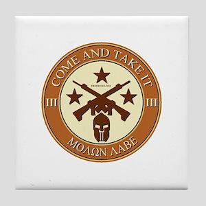 Come and Take It (Orange/Beige Round) Tile Coaster