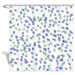Blue and Green Confetti Shower Curtain