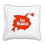Fish Wrangler - Hate Fish Logo Square Canvas Pillo