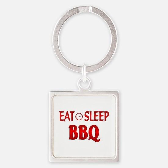 Eat Sleep BBQ Square Keychain