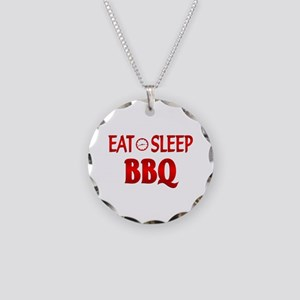 Eat Sleep BBQ Necklace Circle Charm