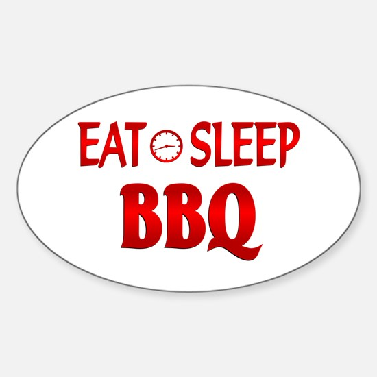 Eat Sleep BBQ Sticker (Oval)