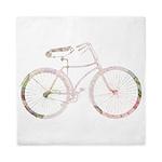 Floral Vintage Bicycle Queen Duvet