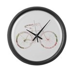 Floral Vintage Bicycle Large Wall Clock