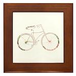 Floral Vintage Bicycle Framed Tile
