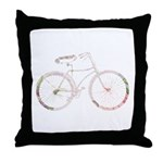 Floral Vintage Bicycle Throw Pillow