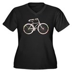 Floral Vintage Bicycle Women's Plus Size V-Neck Da