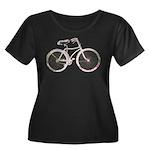 Floral Vintage Bicycle Women's Plus Size Scoop Nec
