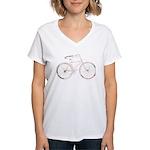 Floral Vintage Bicycle Women's V-Neck T-Shirt