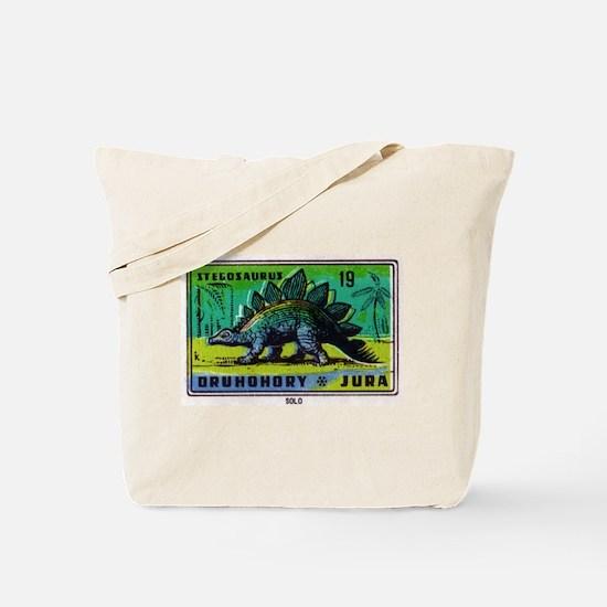 Stegosaurus Czechoslovakian Matchbox Label Tote Ba