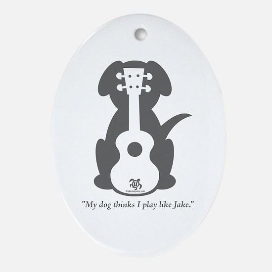 Dog Jake Uke Ornament (Oval)