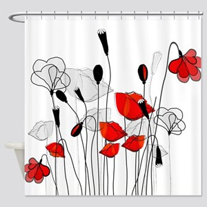 Whimsical Red Poppies Shower Curtain