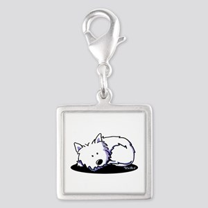 Nap Time Westie Silver Square Charm