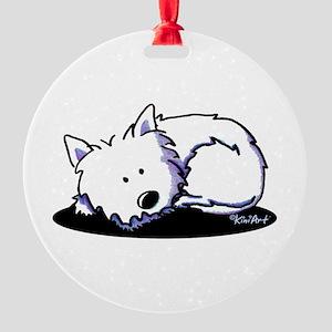 Nap Time Westie Round Ornament