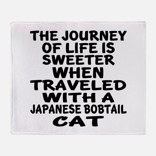 Traveled With japanese bobtail Cat Throw Blanket