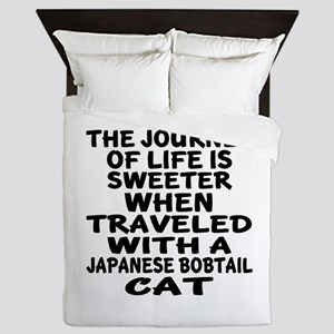 Traveled With japanese bobtail Cat Queen Duvet