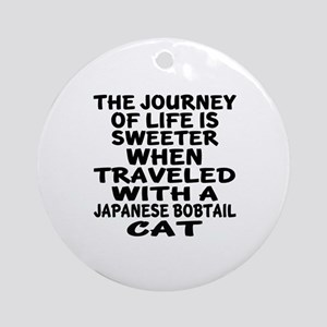 Traveled With japanese bobtail Cat Round Ornament