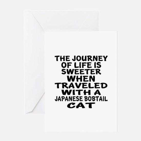 Traveled With japanese bobtail Cat Greeting Card