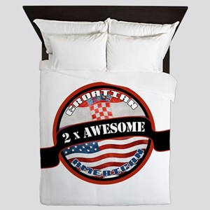 Croatian American 2x Awesome Queen Duvet