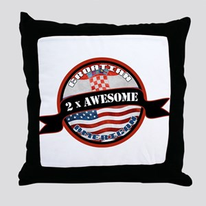 Croatian American 2x Awesome Throw Pillow