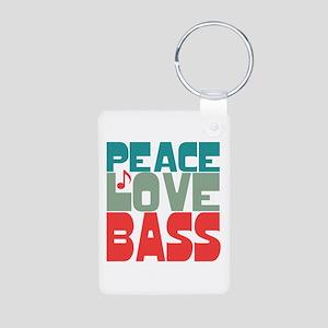 Peace Love Bass Aluminum Photo Keychain