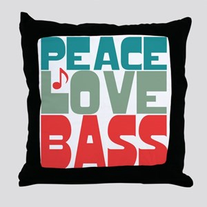 Peace Love Bass Throw Pillow