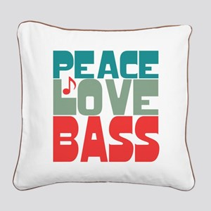 Peace Love Bass Square Canvas Pillow