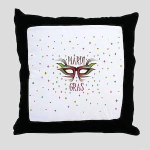 mardi gras PARTY MASK DARK BUTTON L Throw Pillow