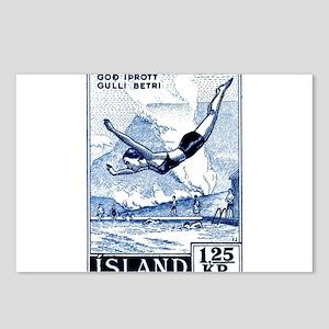 Antique 1955 Iceland Diver Postage Stamp Postcards