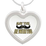 May the stache be with you Silver Heart Necklace