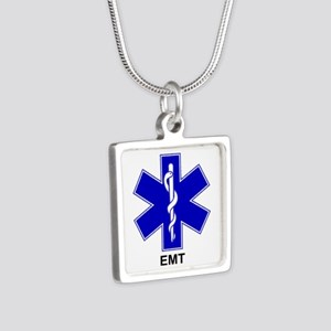 Blue Star of Life - EMT Silver Square Necklace