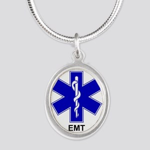 Blue Star of Life - EMT Silver Oval Necklace