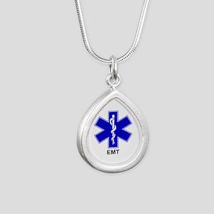 Blue Star of Life - EMT Silver Teardrop Neckla