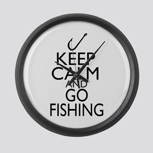 Keep Calm and Go Fishing Large Wall Clock
