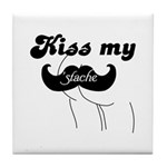 Kiss my stache Tile Coaster